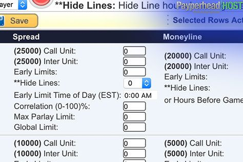 Limit max wager line from bookie backend software