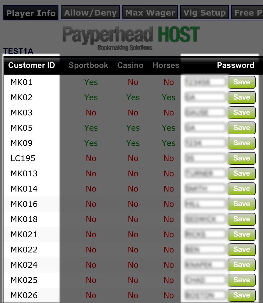 players usernames passwords management